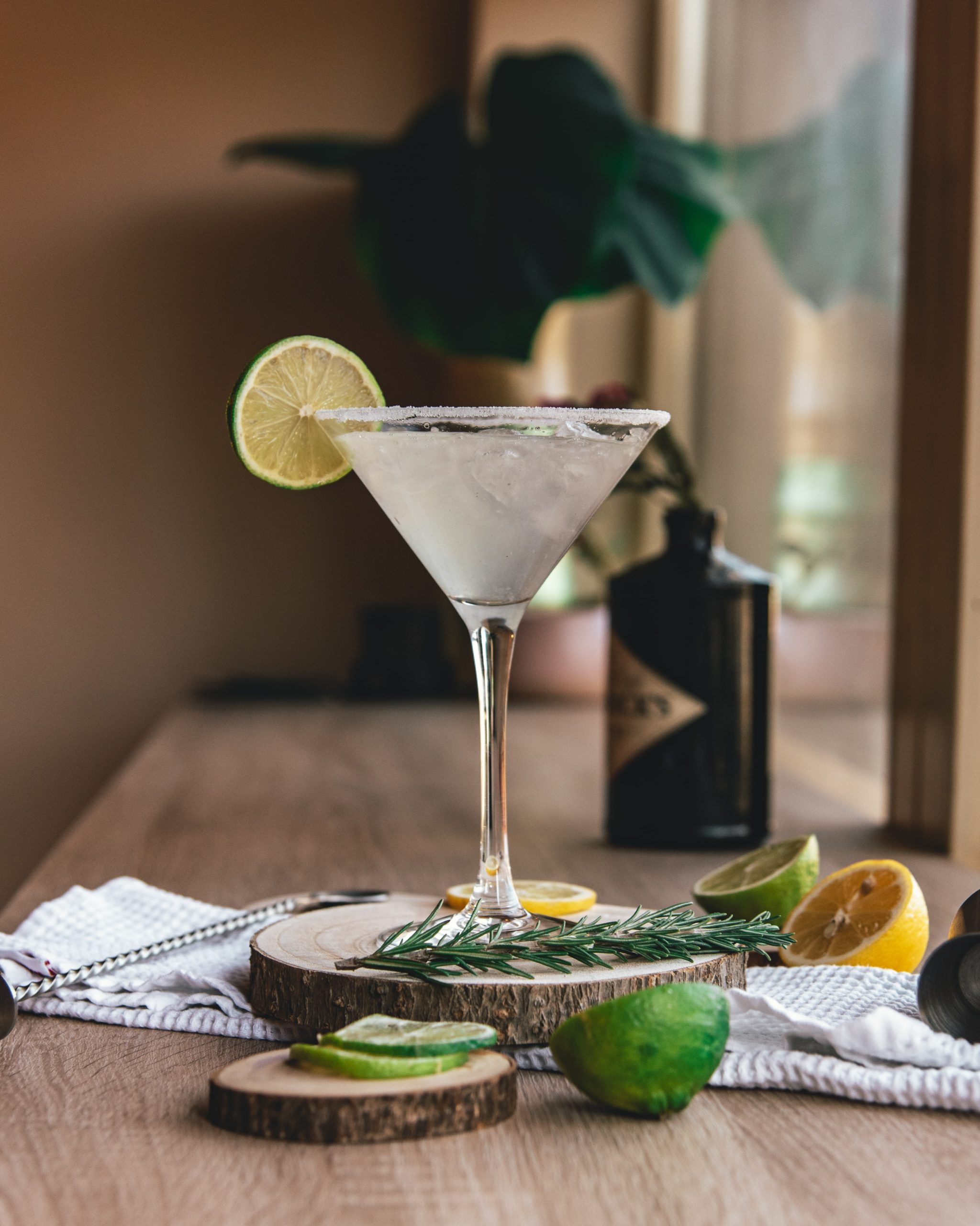 clear martini glass with sliced lemon on brown wooden table